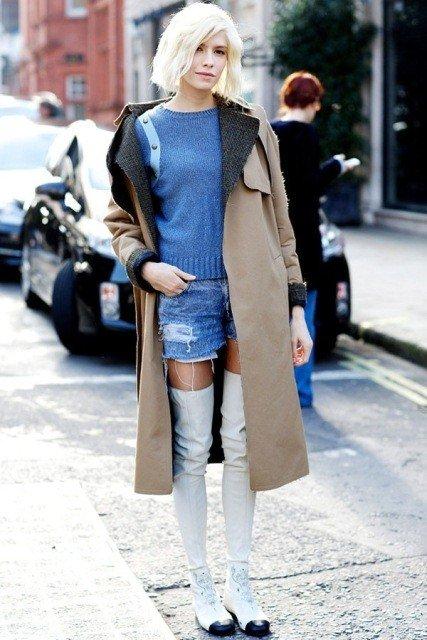 зимние ботфорты без каблука белые