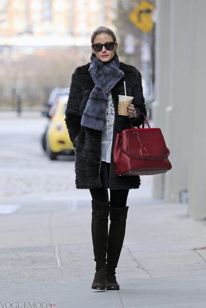 зимние ботфорты без каблука темные