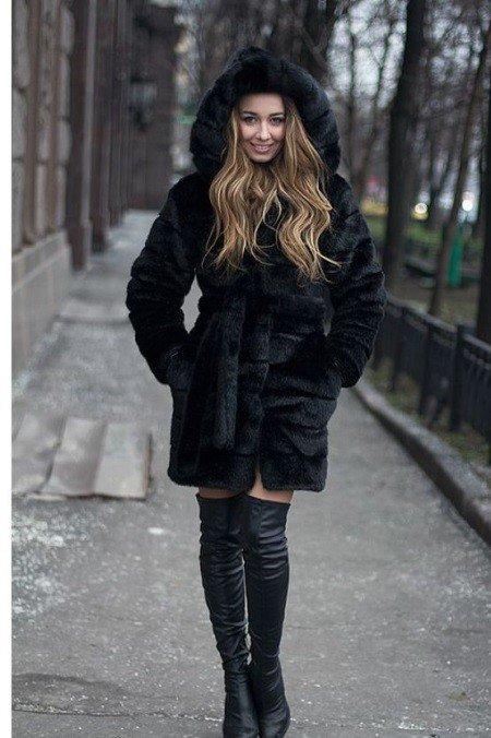 зимние ботфорты-чулки темные