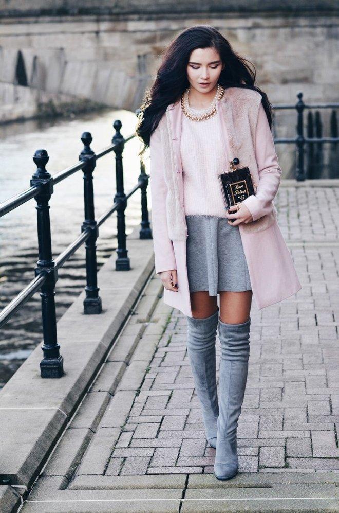 зимние ботфорты-чулки серые