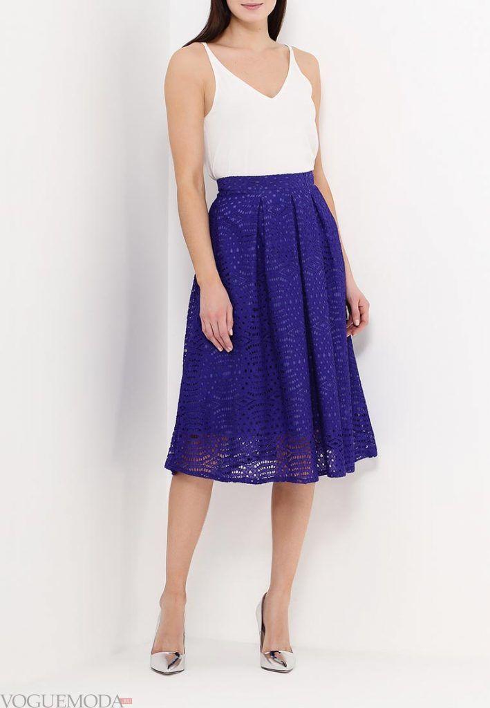 гипюровая юбка клеш синяя