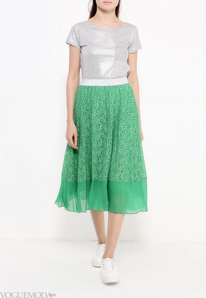 гипюровая юбка клеш зеленая