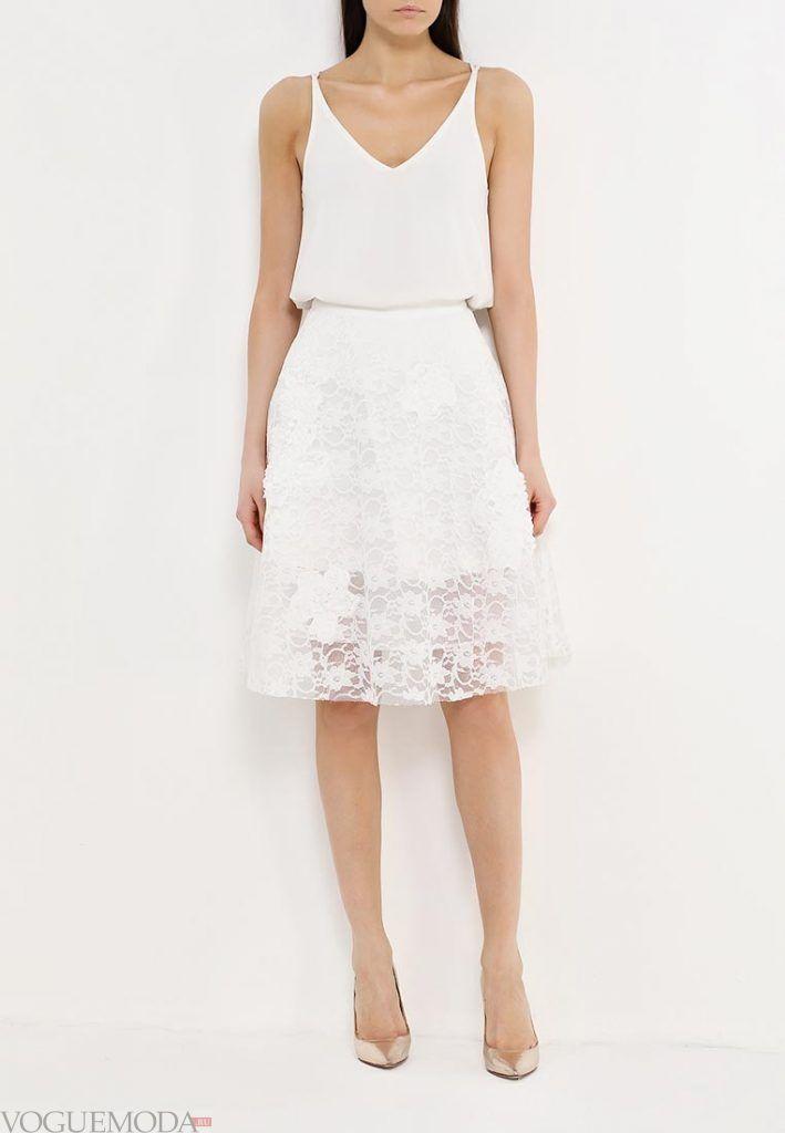 гипюровая юбка клеш белая