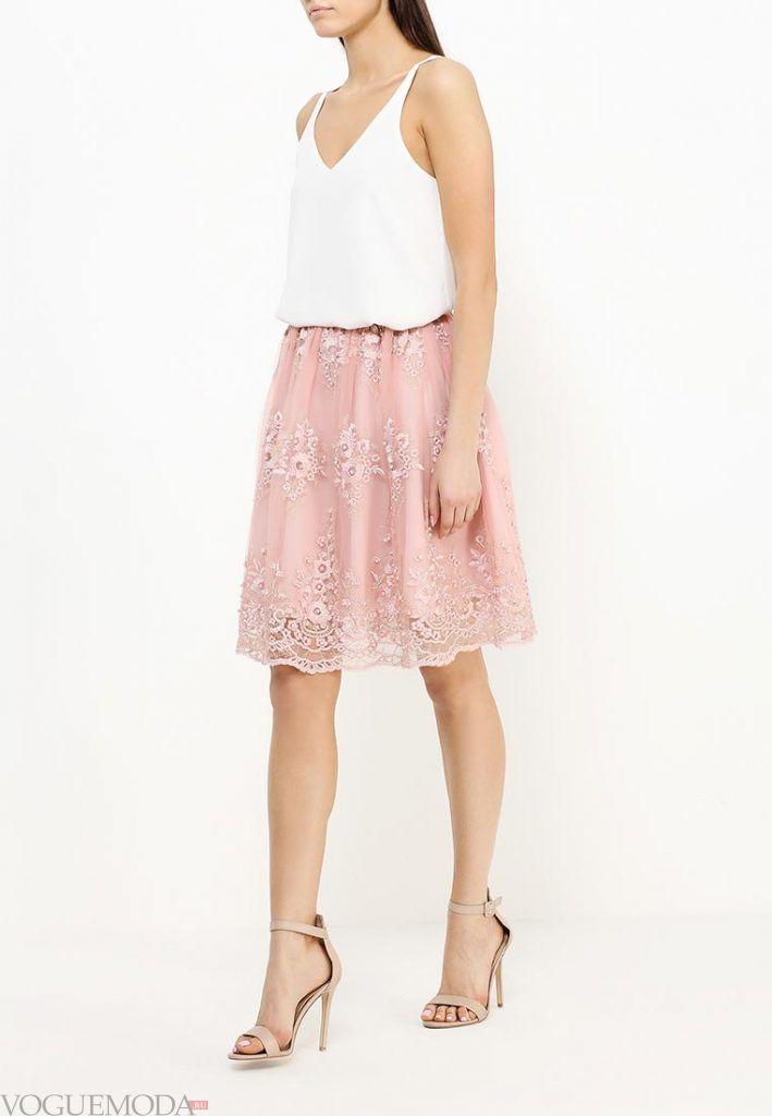 гипюровая юбка клеш розовая