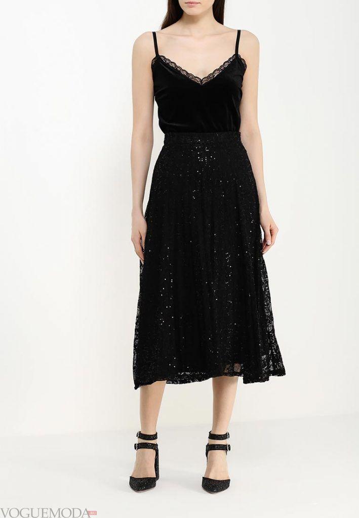 длинная гипюровая юбка черная