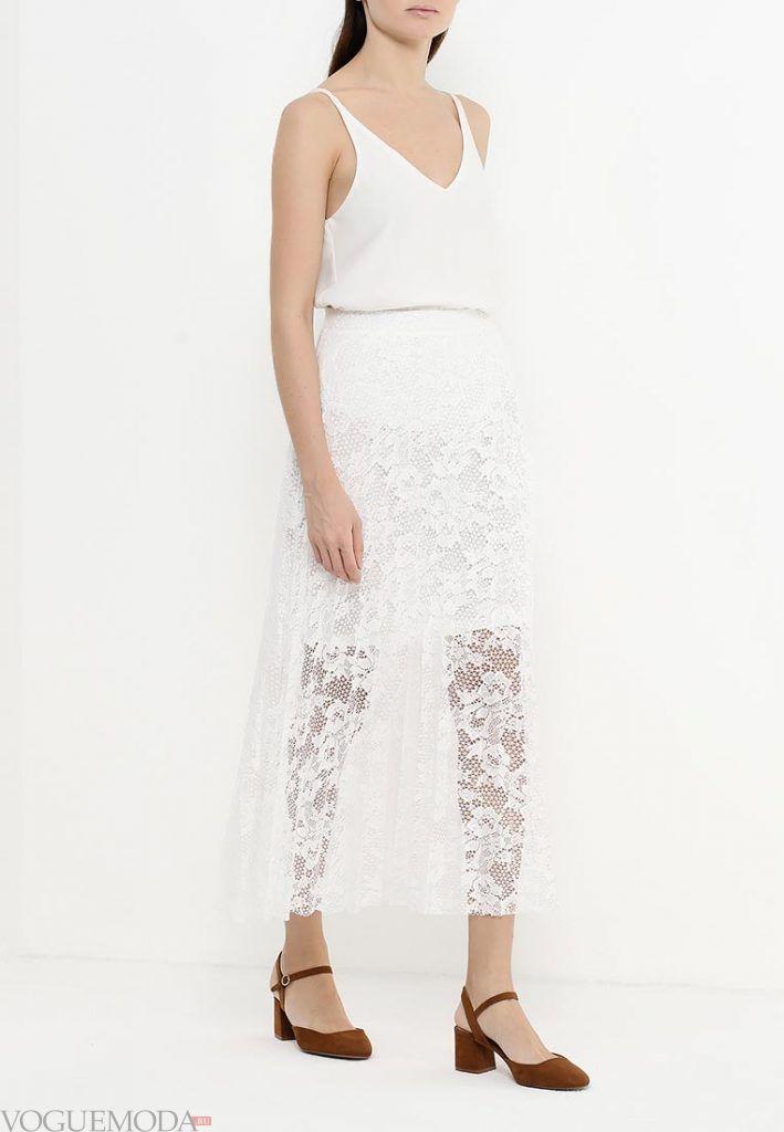 длинная гипюровая юбка белая