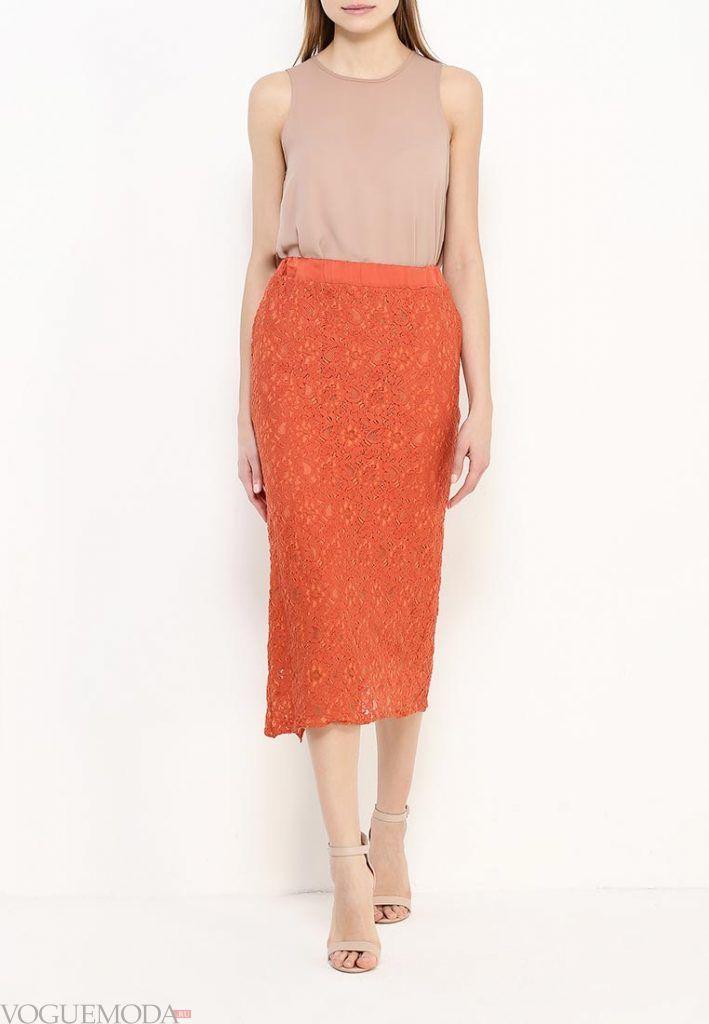длинная гипюровая юбка оранжевая