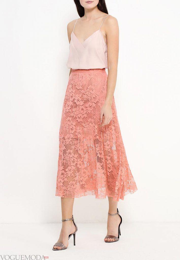 длинная гипюровая юбка розовая
