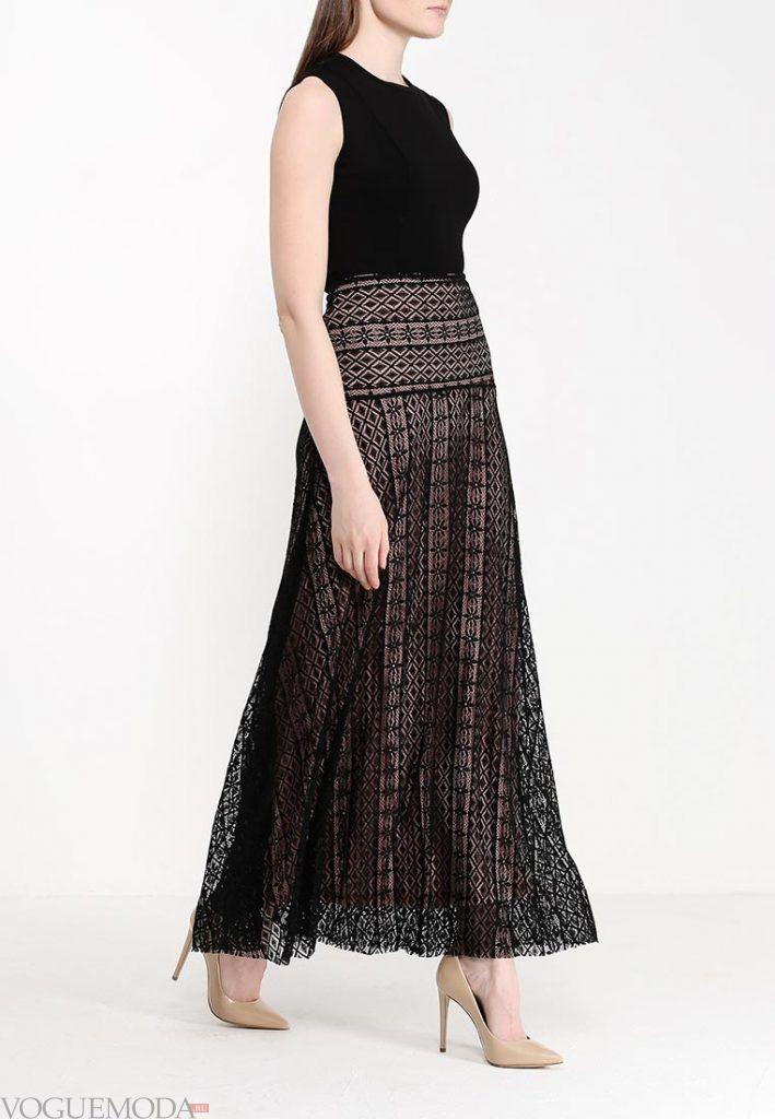 длинная гипюровая юбка с принтом