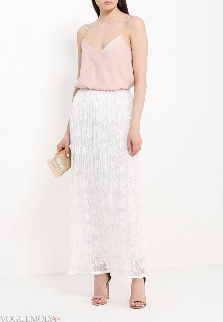 длинная гипюровая юбка светлая