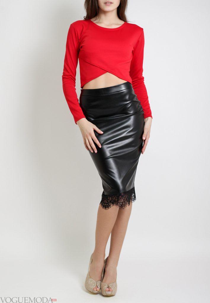 юбка с гипюровыми вставками черная