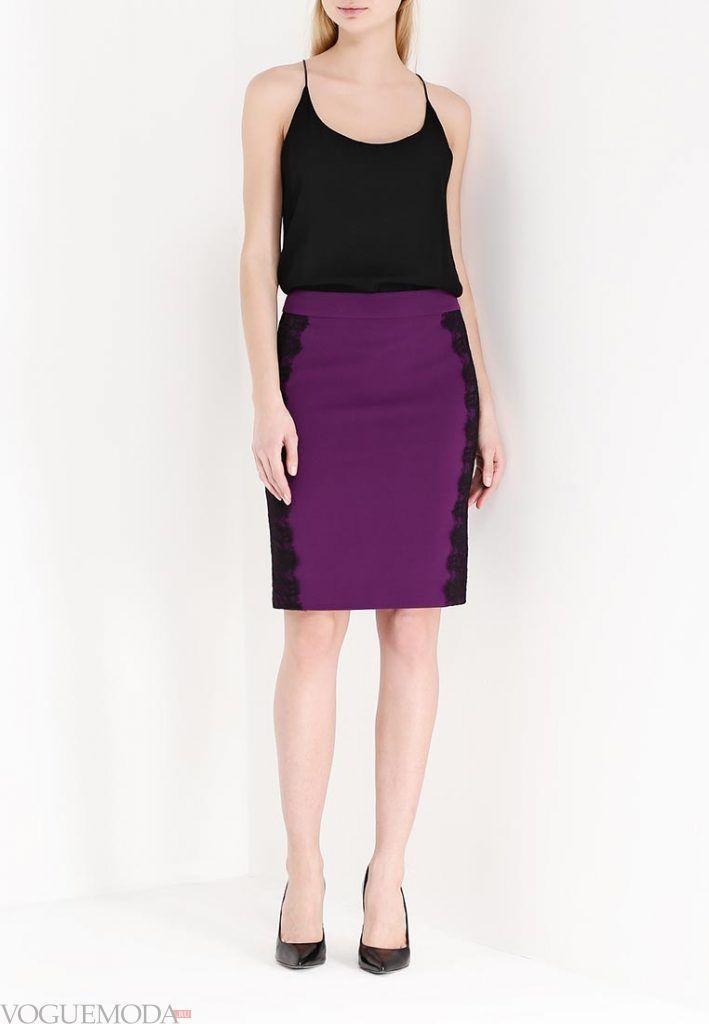 юбка с гипюровыми вставками фиолетовая