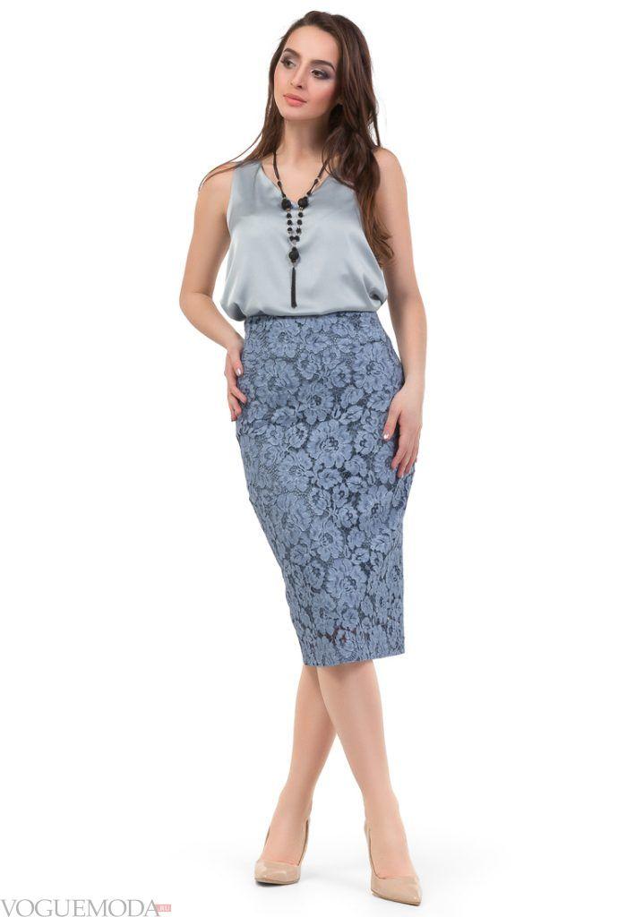 гипюровая юбка карандаш синяя