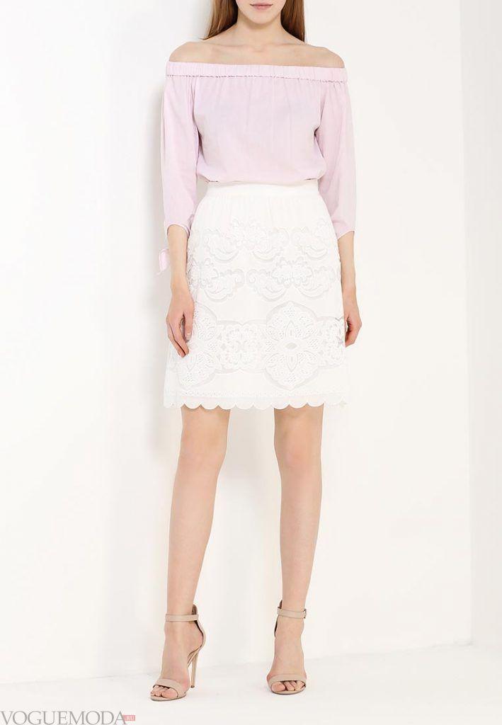 гипюровая белая юбка