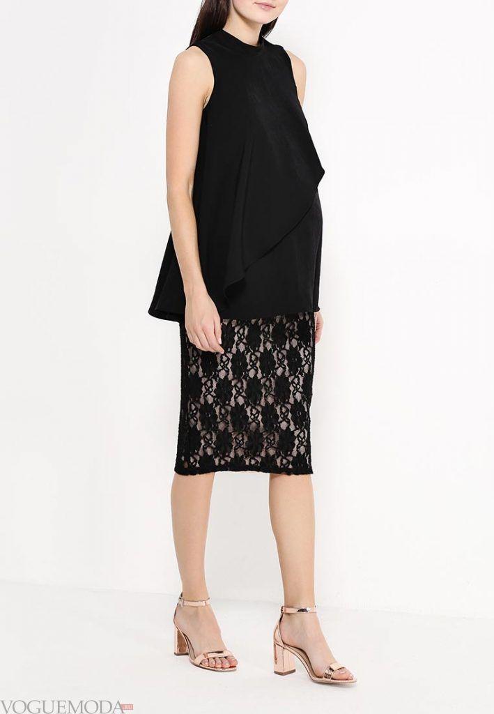 гипюровая юбка с принтом