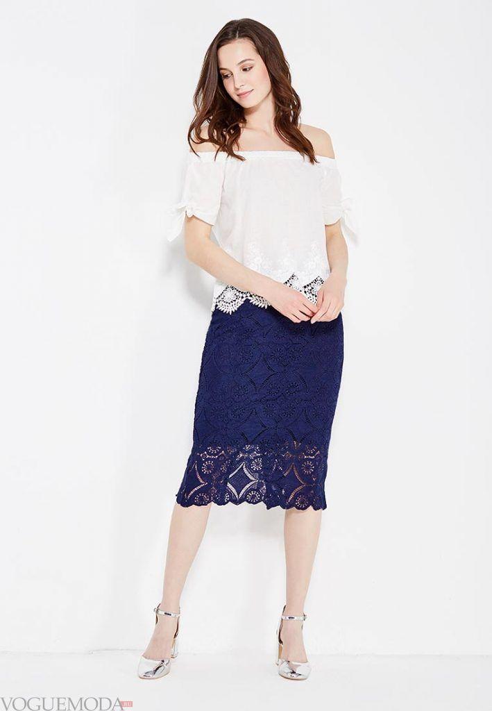 гипюровая юбка синяя