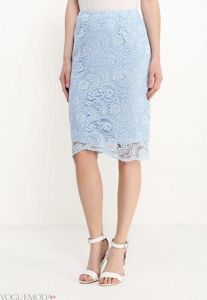 гипюровая юбка голубая