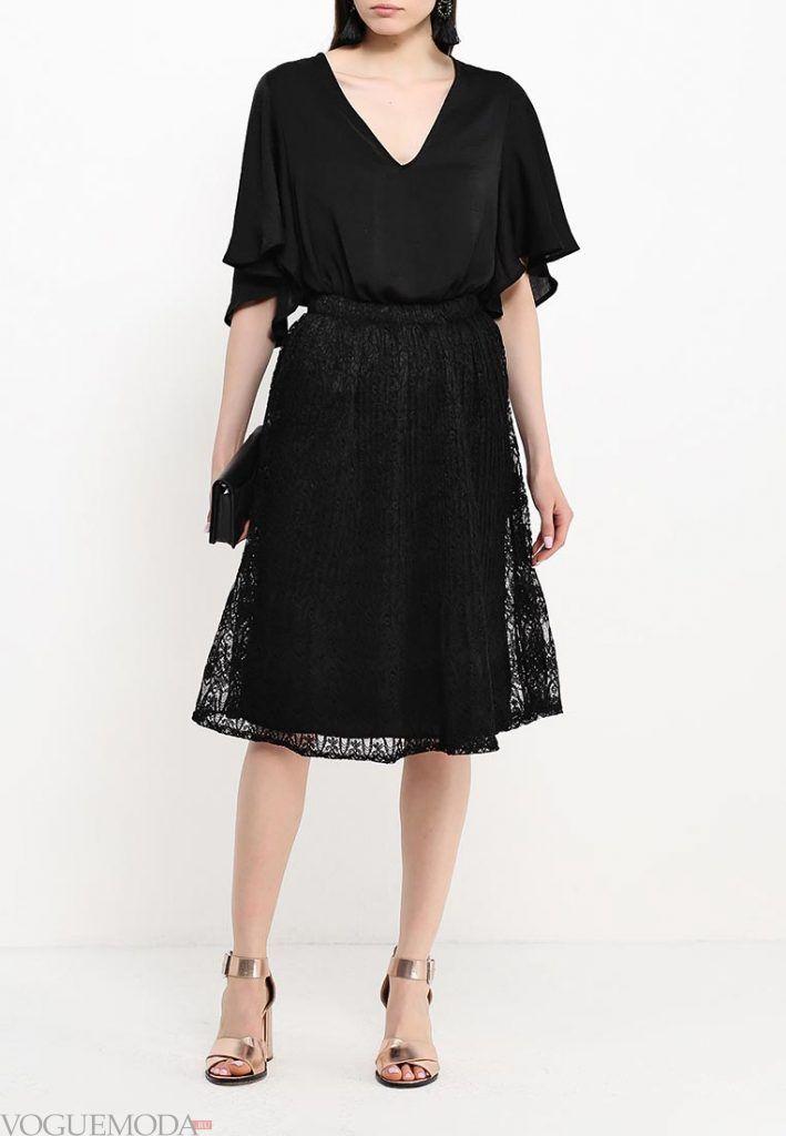 гипюровая юбка темная