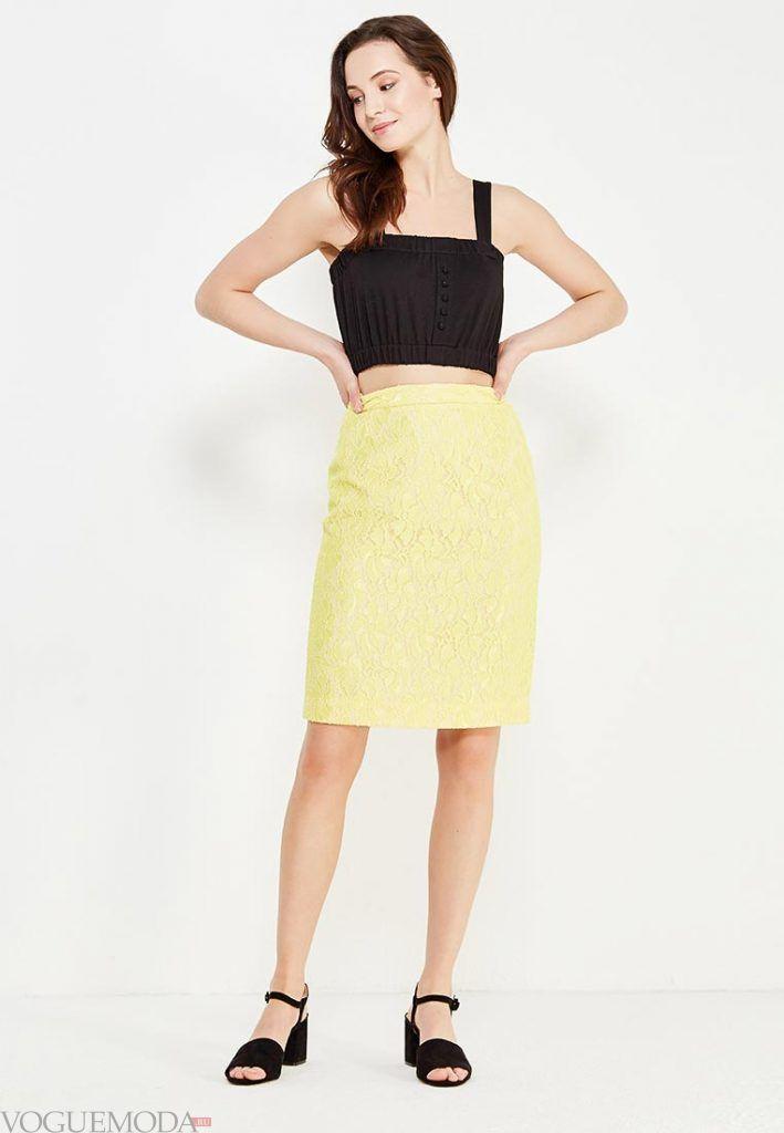 гипюровая юбка желтая