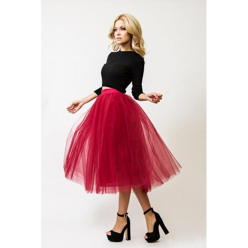 гипюровая юбка пачка бордовая