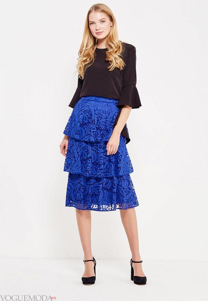 гипюровая юбка многослойная