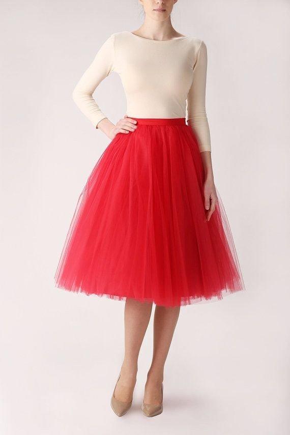 гипюровая юбка пачка красная