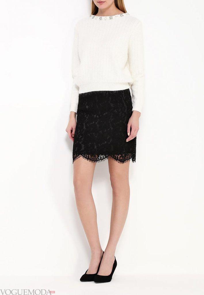 гипюровая юбка черная