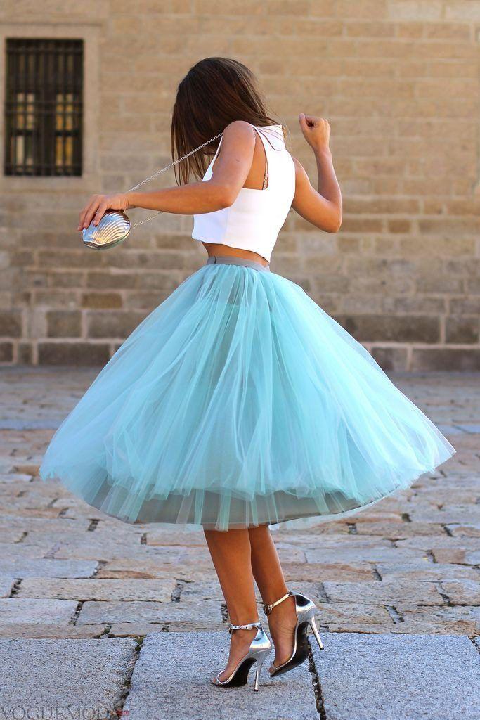 гипюровая юбка пачка голубая