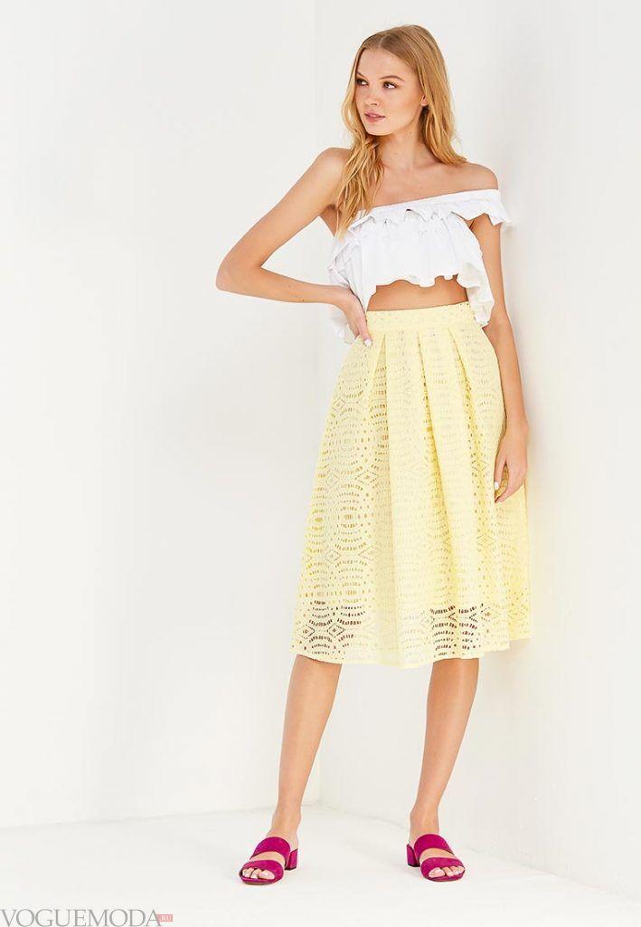 гипюровая юбка полусонце желтая
