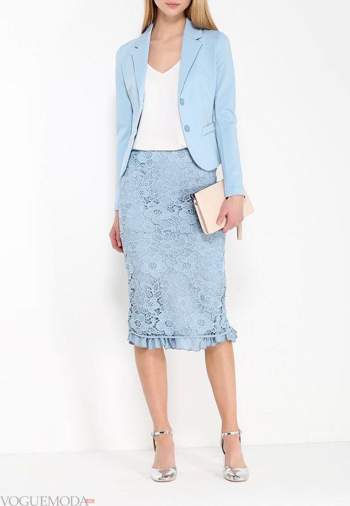 гипюровая юбка карандаш с декором