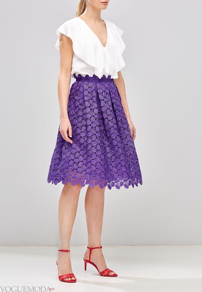 гипюровая юбка полусонце фиолетовая