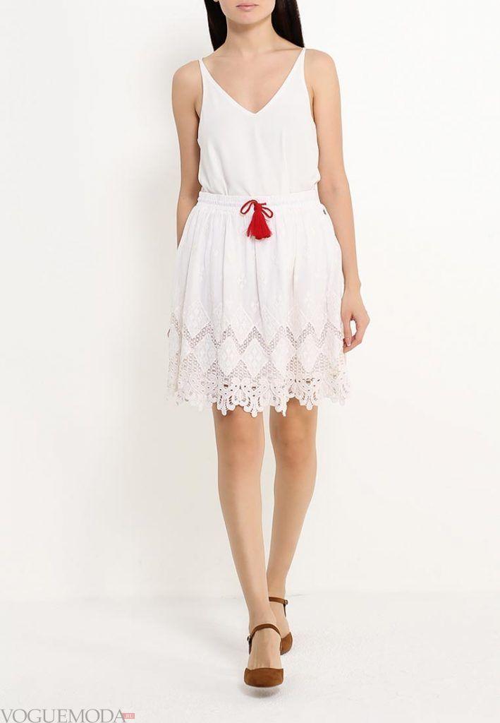 гипюровая юбка полусонце белая