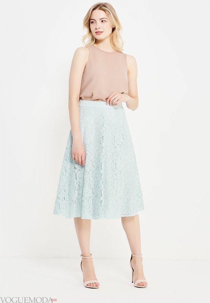 гипюровая юбка полусонце голубая