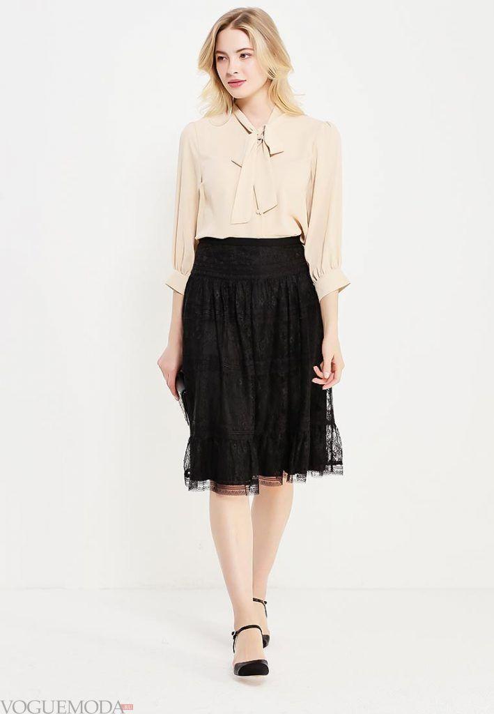 гипюровая юбка клеш черная