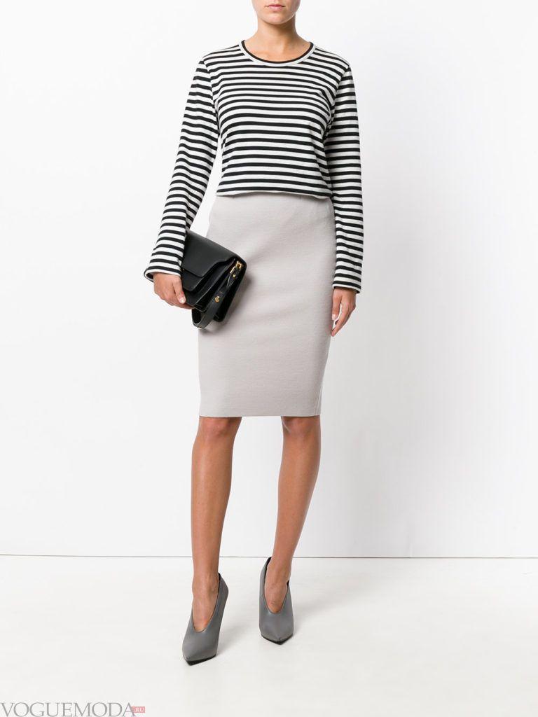 с чем носить серую юбку: классическая светлая