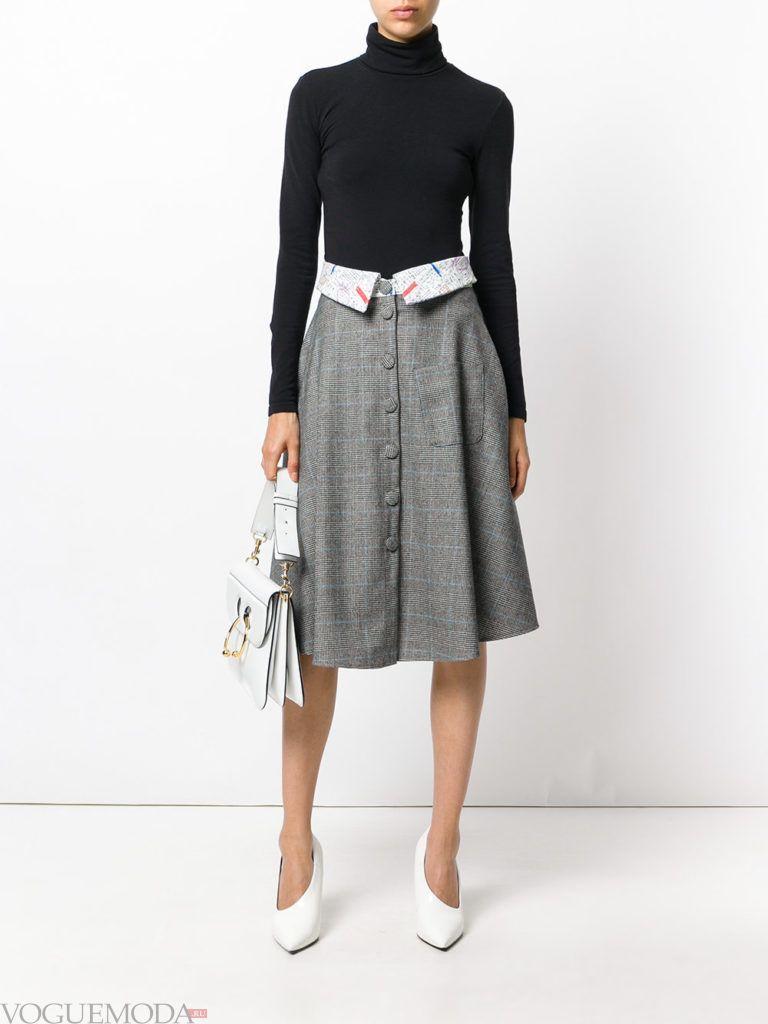 с чем носить серую юбку: классическая с декором