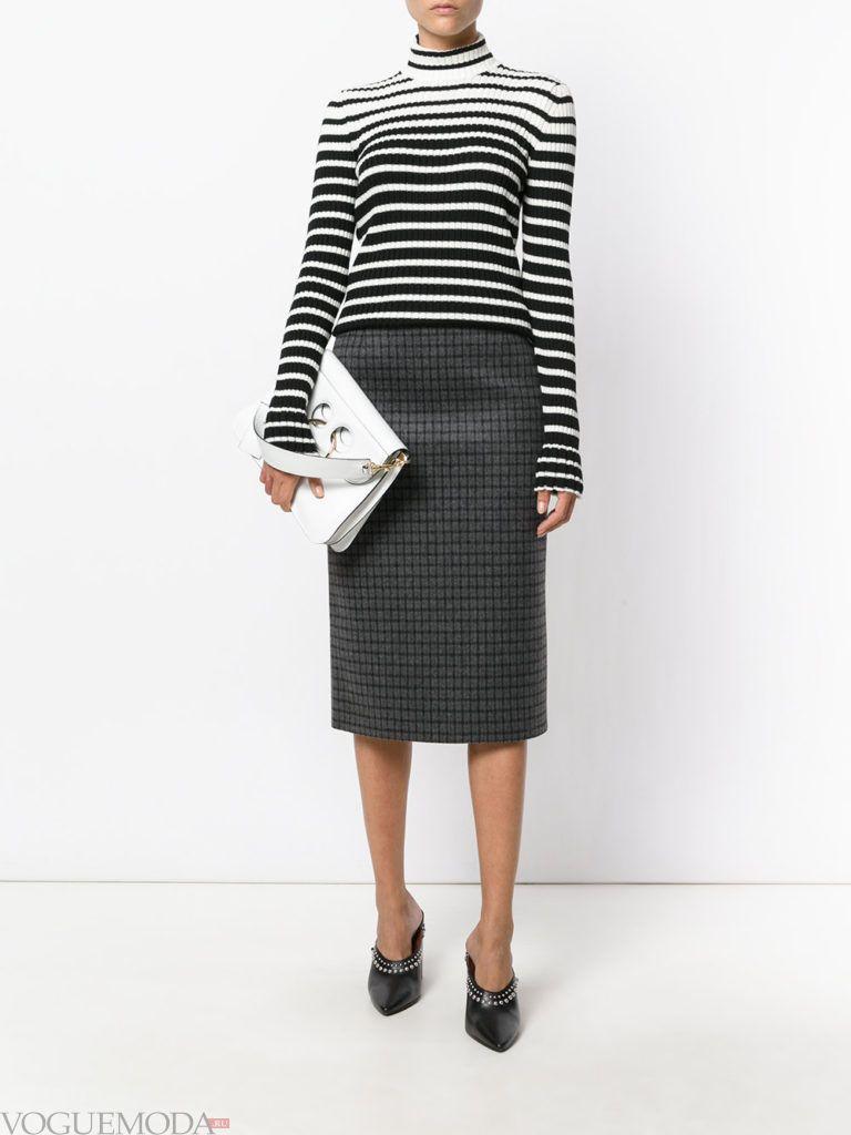 с чем носить серую юбку: классическая темная