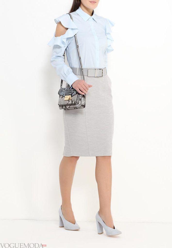 с чем носить серую юбку: классическая с поясом