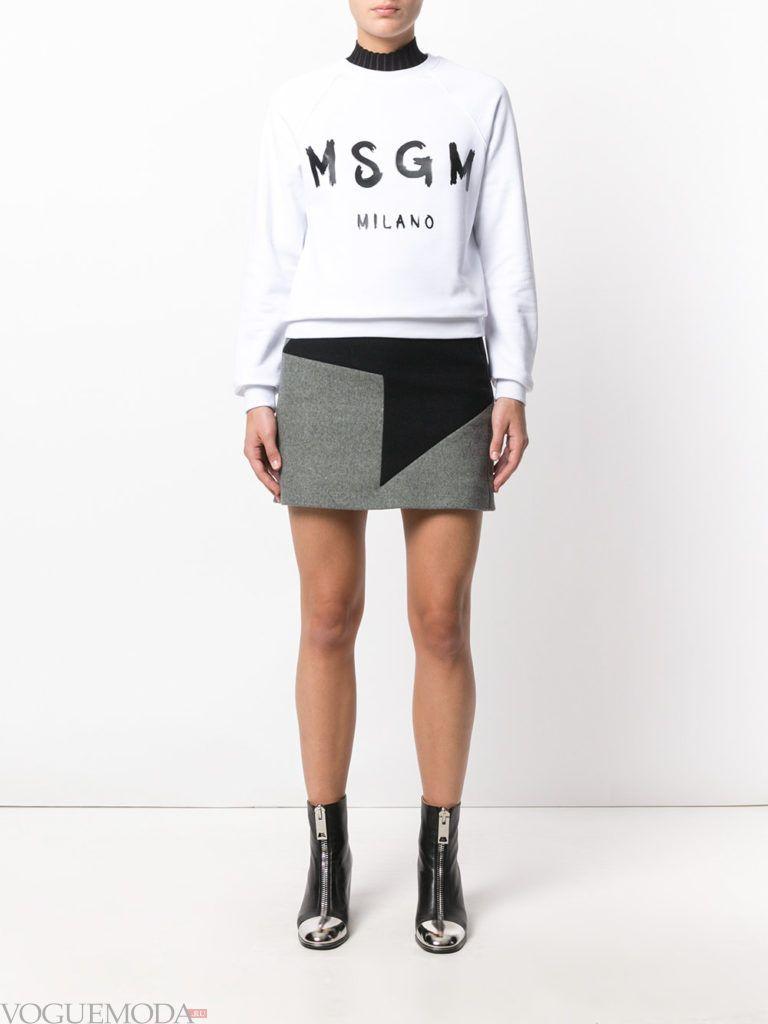 серая мини юбка с черной вставкой