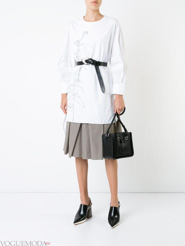 с чем носить серую юбку: клеш