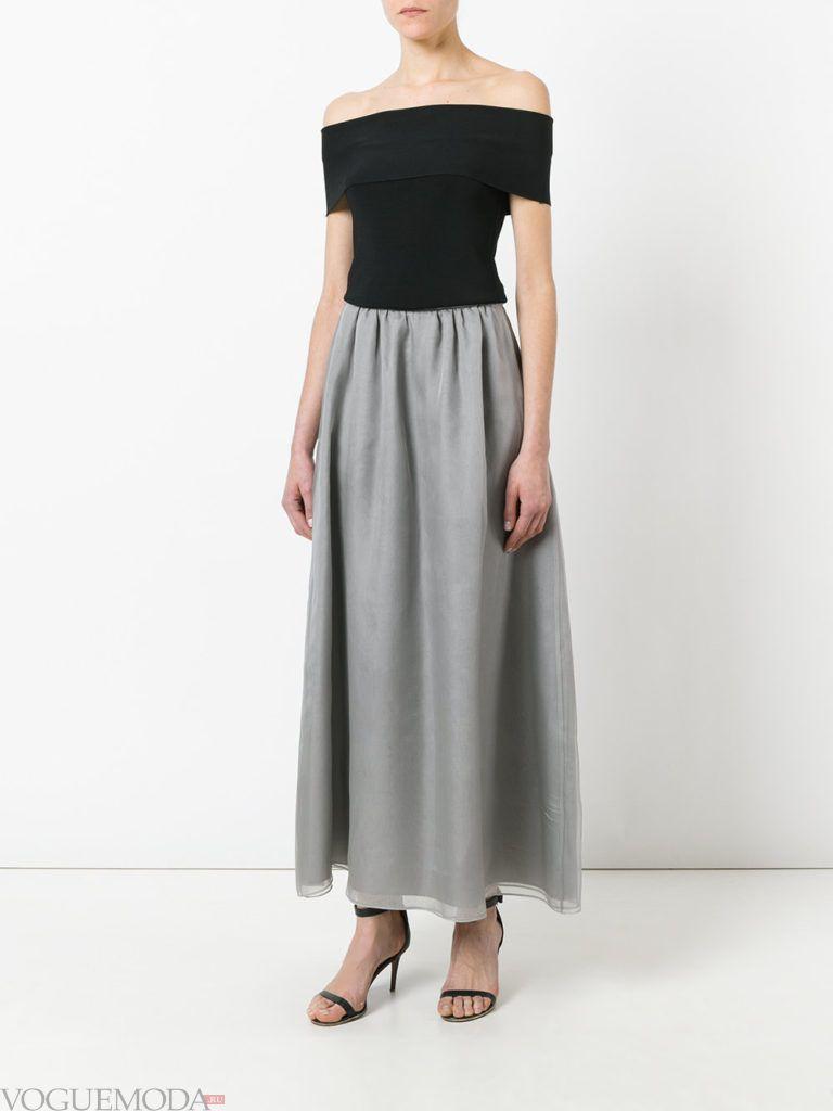 с чем носить серую юбку: шифоновая