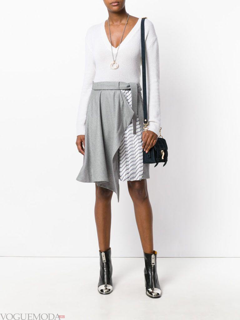 с чем носить серую юбку: асимметричная