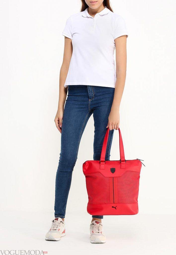 сумка спортивная красная