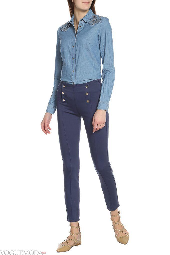 стильные брюки синие