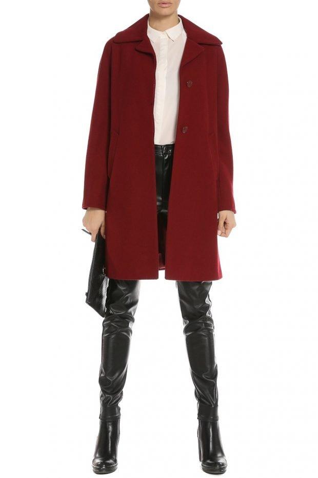 модные образы весна: пальто бордовое