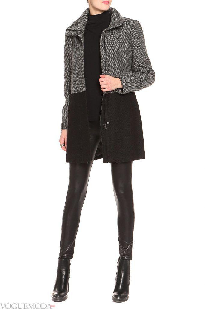 стильное пальто двухцветное