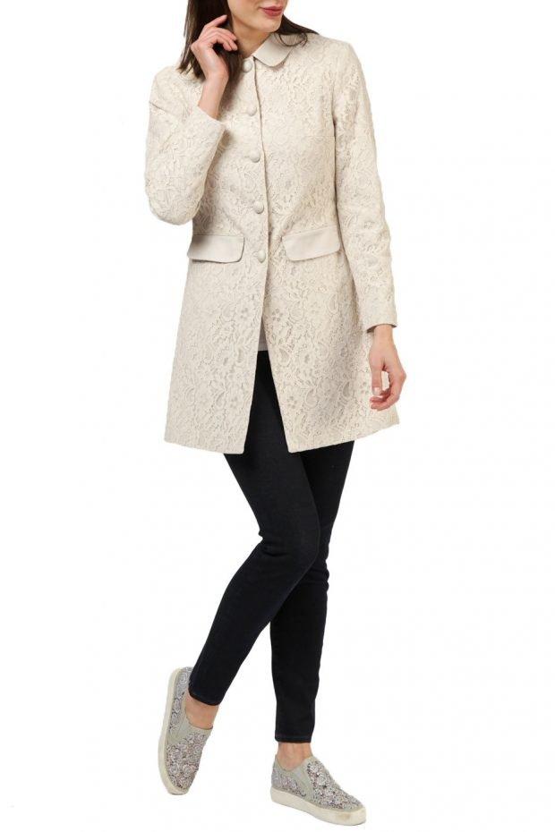 модные образы весна: пальто светлое