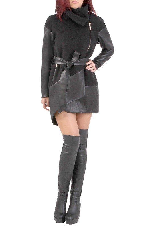 стильное пальто комбинированное