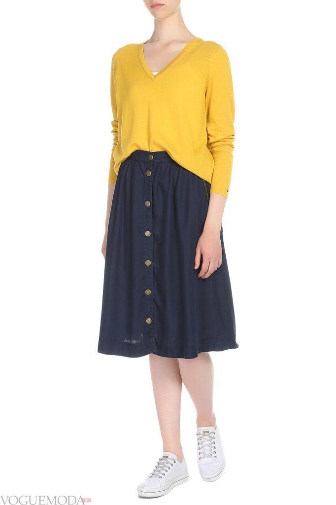 стильная юбка синяя