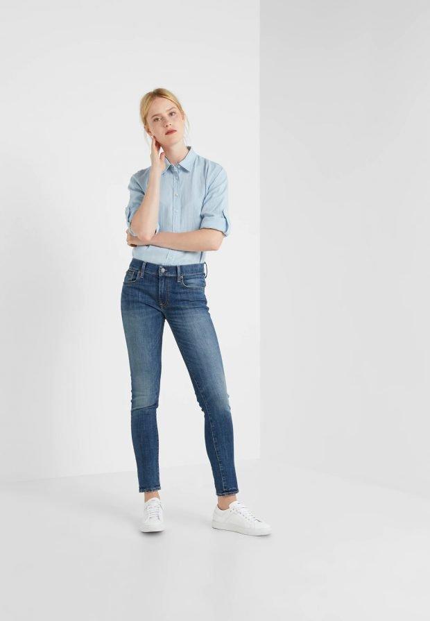 стильные образы весна-лето 2019: голубая рубашка